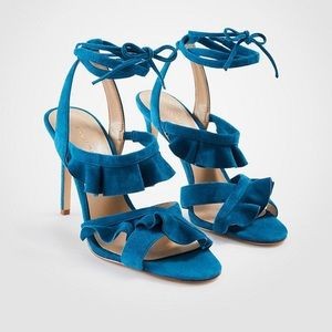 Ann Taylor teal suede strappy heels